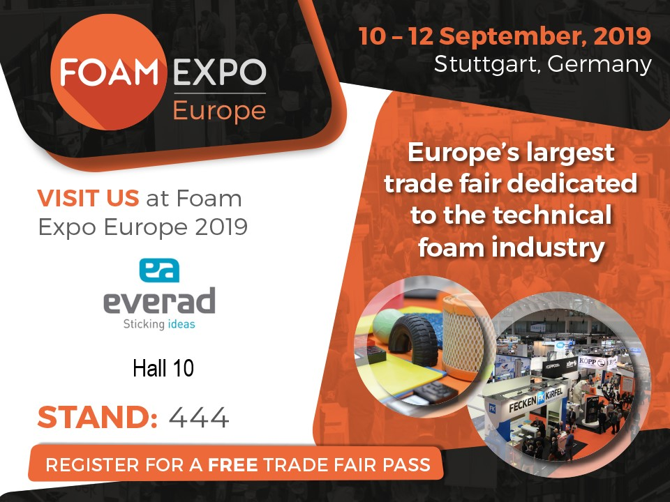 Everad Adhesives exhibits at Foam Expo 2019 in D-Stuttgart